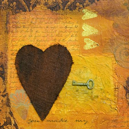 collage painting with heart, artwork is created and painted by myself,