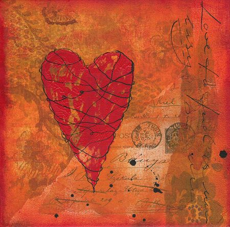 Collage painting with heart, artwork is created and painted by myself