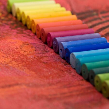 pastel chalk in straigth row
