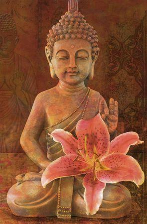 백합 꽃과 함께 부처님 동상 디지털 그림