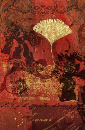 ginkgo leaf: digital created illustration with ginkgo leaf and cherub