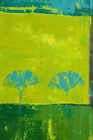 created: artwork background with ginkgo leaf print, painting is created and painted by myself