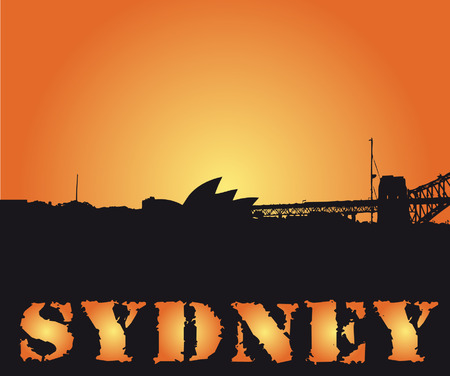 sydney city shape in sunset vector illustration