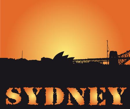 sydney skyline: sydney city shape in sunset vector illustration