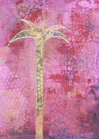 palmtree: collage painting with palmtree, artwork is created and painted by myself Stock Photo