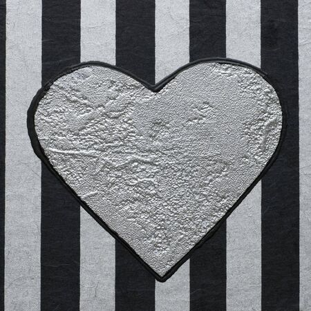 silver heart on striped background Stock Photo - 3865078