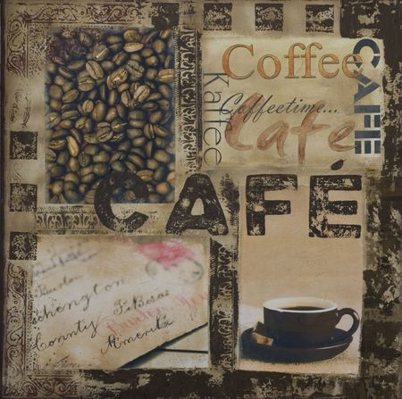 collage painting with coffee and text, artwork is created and painted by myself Stock Photo