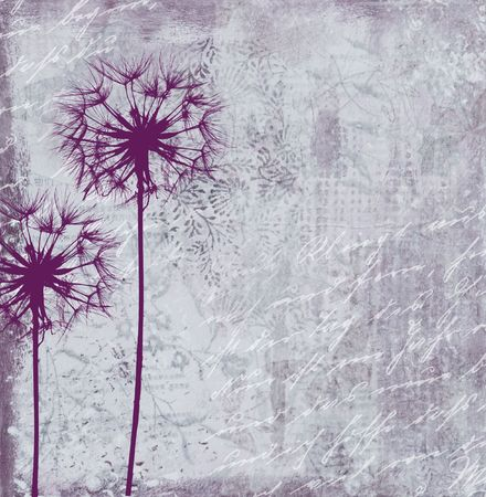 collage painting with dandelion flower, artwork is created and painted by myself