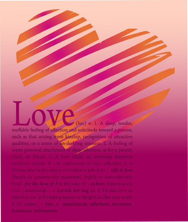 Vecto illustration heart and love text  Vector