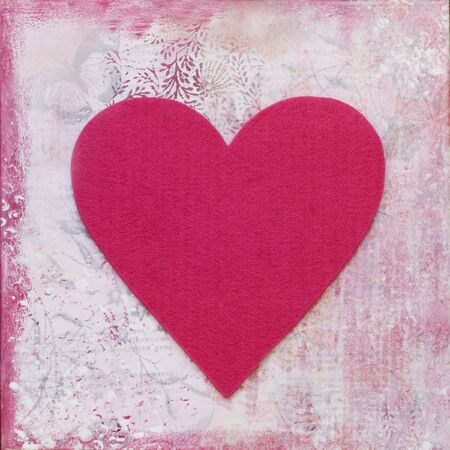 felt heart on painted background, artwork is created and painted by myself Stock Photo - 3957413