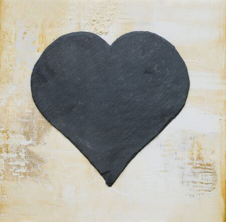 slate heart on painted background, artwork is created and painted by myself Stock Photo - 3981541