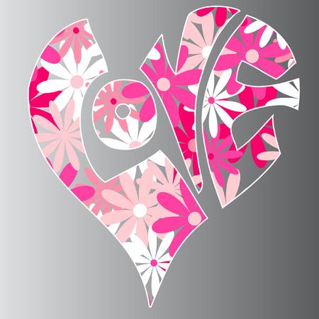 heart shaped word love vector illustration