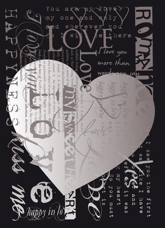 heart and love text  illustration Illustration