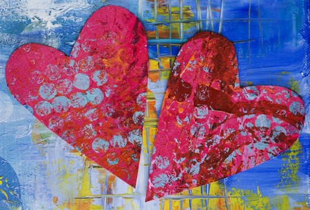 heart on painted background, artwork is created and painted by myself