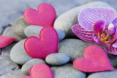 pink felt heart and orchid on pebble photo