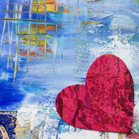 te amo: coraz�n pintado sobre fondo, obras de arte es creado y pintado por m� mismo Foto de archivo