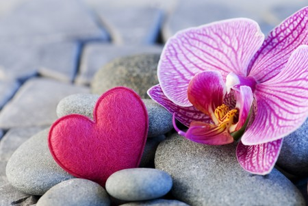 pink felt heart and orchid on pebble