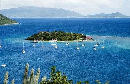 caribbean island: View to Marina Cay, British Virgin Islands Stock Photo