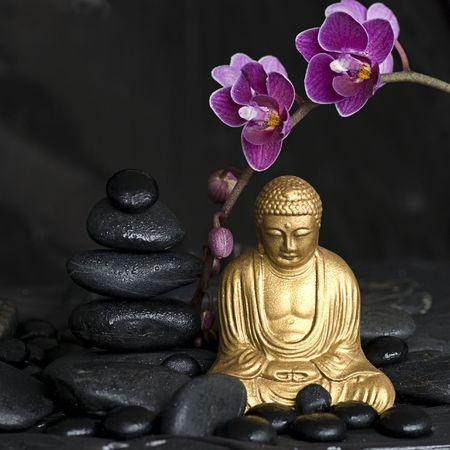 golden buddha statue with orchid flower and stone tower