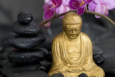 golden buddha statue with orchid flower and stone tower photo