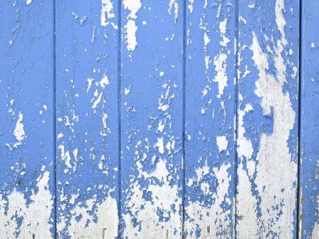 peeling paint: vecchie tavole blu con peeling vernice Archivio Fotografico