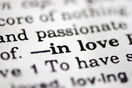 dictionary definition: close up of love definition in dictionary Stock Photo