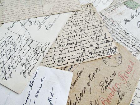 오래 된 손으로 쓴된 편지의 배경 스톡 콘텐츠
