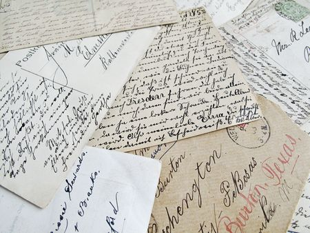 written communication: background of old handwritten letters Stock Photo