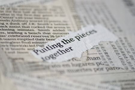 collage of newspaper fragments with text Stock Photo - 5871301