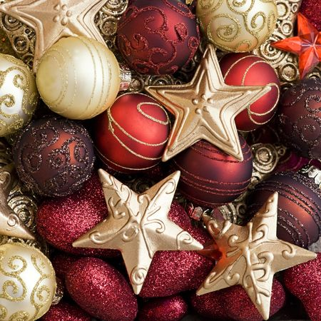 Holiday Decorations: christmas ornaments in red and gold Stock Photo