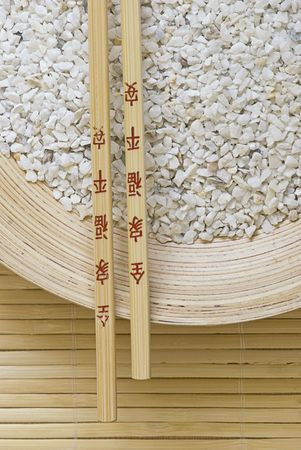 bamboo with white stone and chopsticks Stock Photo - 5877096