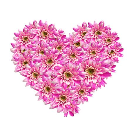 heart made of pink flowers photo