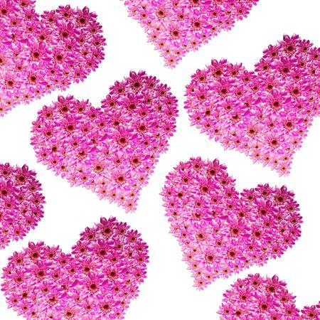 hearts made of pink flowers photo
