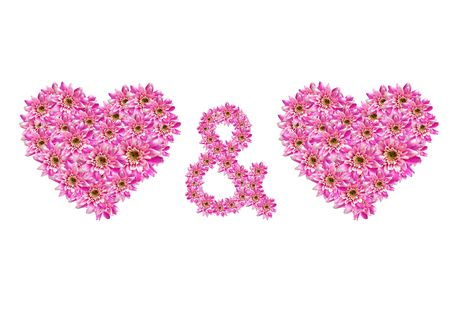 two flower hearts and a plus symbol photo