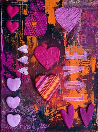 created: collage with hearts, artwork is created and painted by myself Stock Photo