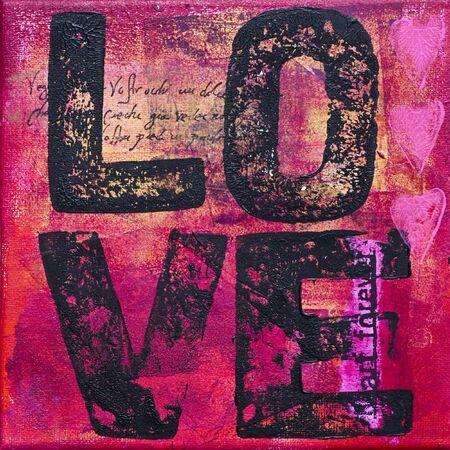create: dipingere con la parola amore, opera viene creato e dipinta da me stesso