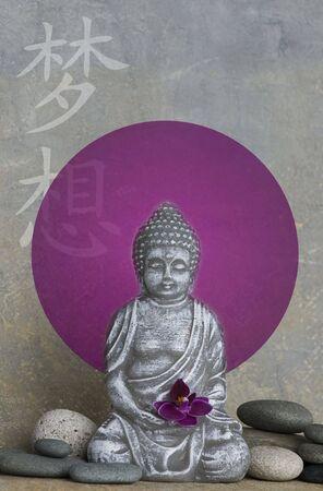 Buddha statue with illustration, chinese symbol for dream illustration