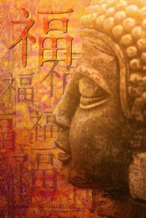 Buddha Statue with chinese symbol for luck, digital created Stock Photo - 6534715