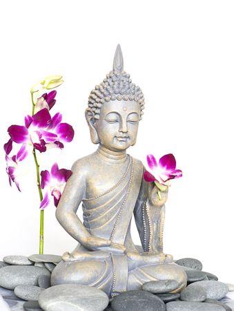 부처님 동상과 난초 꽃