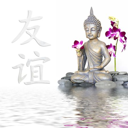 zen flower: Buddha statue in water, chinese symbol for friendship Stock Photo