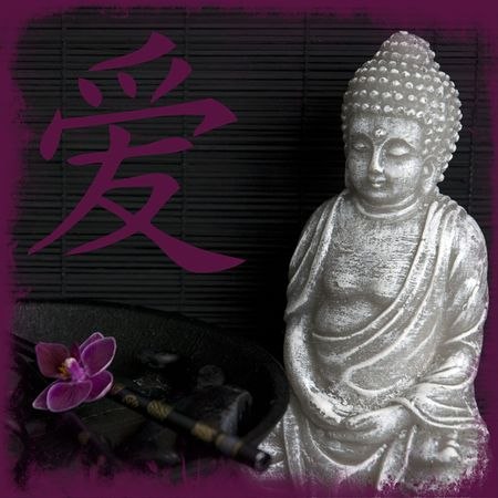 Buddha still life with chinese symbol for love photo