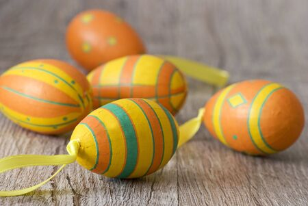 colorful easter eggs on wood Stock Photo - 6534669
