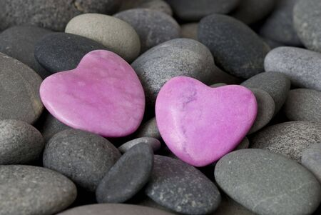 pink stone hearts and gray pebble