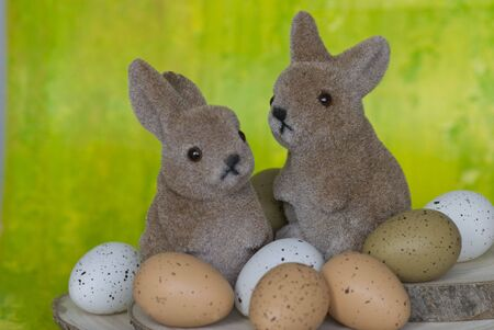 two easter bunnies with eggs Stock Photo - 6534691
