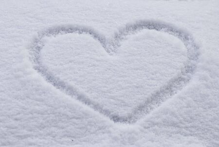 heart shape in the snow photo