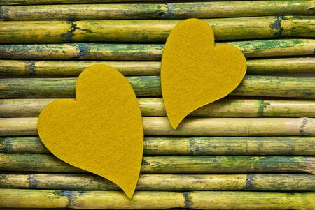 felt heart on bamboo sticks Stock Photo - 6550646