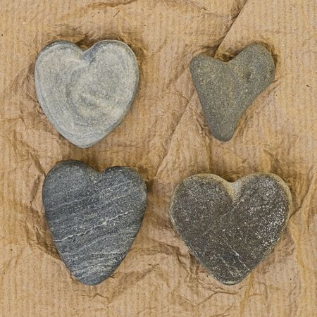 heart shaped stones on paper Stock Photo - 6550640