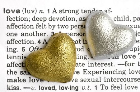 two hearts on love text Stock Photo - 6550644