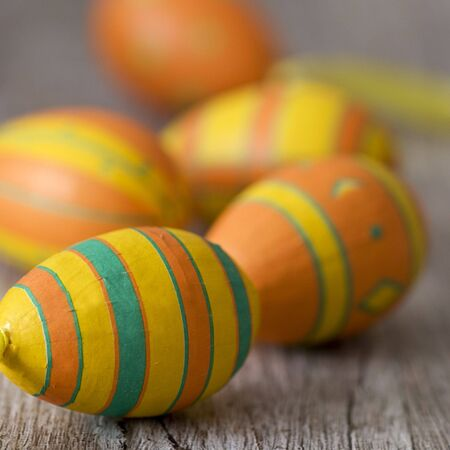 colorful easter eggs on wood Stock Photo - 6550591