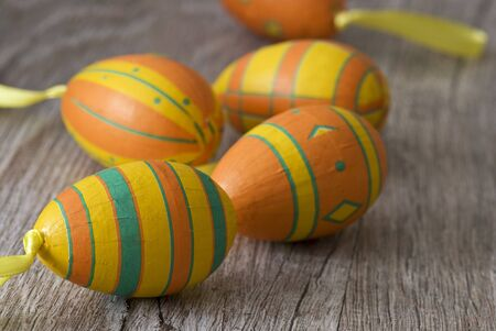 colorful easter eggs on wood Stock Photo - 6550598
